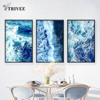 Синяя картина стена HD печать картина постеры море океан вода морской пейзаж Nodic настенные картины для домашнего декора для гостиной