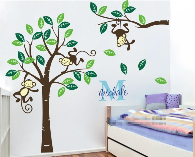 Large 1 9m High Personalized Name Monkey Tree Wall Art Stickers Kids Nursery Vinyl Decals Customized