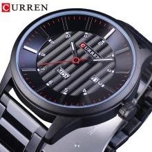CURREN Racing Sport Clock Week Display Fashion Black Stainless Steel Red Hands Creative Mens Quartz Watches Water Resistant
