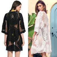 2019 New Fashion Women's Holiday Lace Floral Kimono Cardigan Coat Ladies Summer Swim Cover Ups Open Tops Blouse