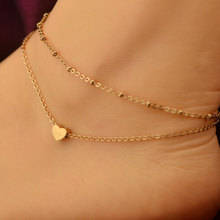 Summer Style Charm Heart Pendant Double Layer Chain Golden Anklet Ankle Bracelet Foot Jewelry Barefoot Sandals Anklets For women