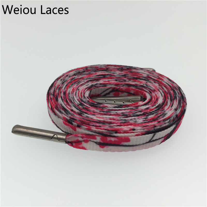 Weiou Silk Screen Printing Flat Plum Blossom Designer Sublimated Shoelaces Sneakers Tennis Shoe Lace Polyester Strings 54