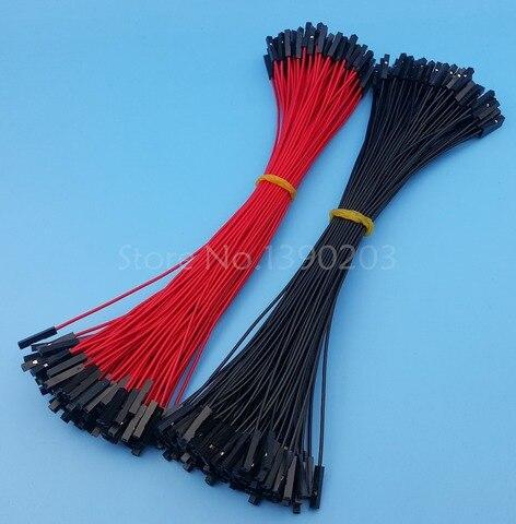 200 pces femea para femea vermelho preto 26awg 20 cm dupont conector de cabo de