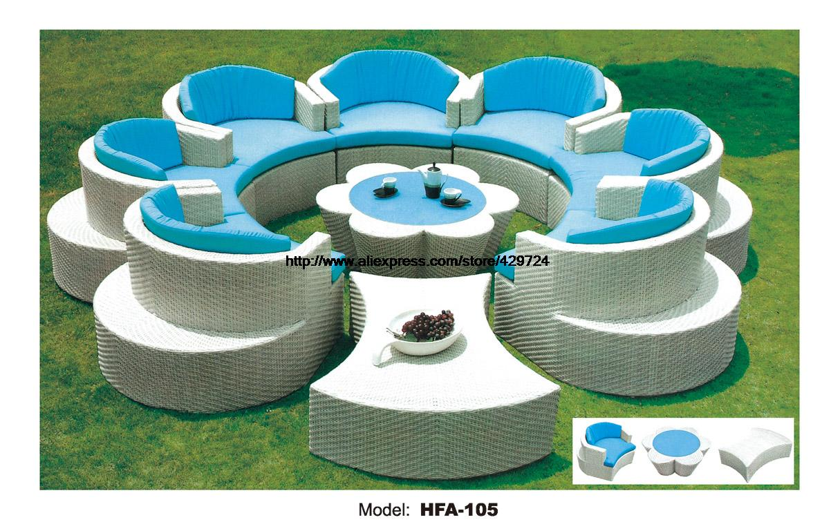 Flower Shaped Rattan Sofa Set Outdoor Wicker Sofa Furniture 7 Seat Garden Furniture with Table Ottoman Wicker Patio Furniture circular arc sofa half round furniture healthy pe rattan garden furniture sofa set luxury garden outdoor furniture sofas hfa086