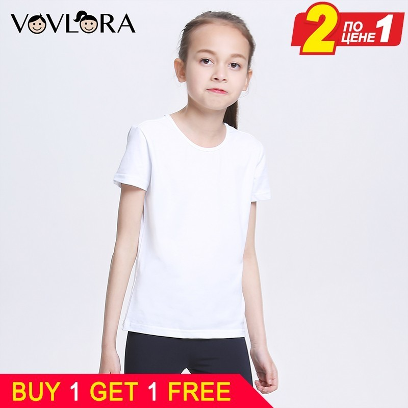 Buy 1 Gift 1 Free White Girls T-shirts Cotton Sport Kids T Shirt Tops Children Tshirt Summer 2018 Size 7 8 9 10 11 12 13 Years
