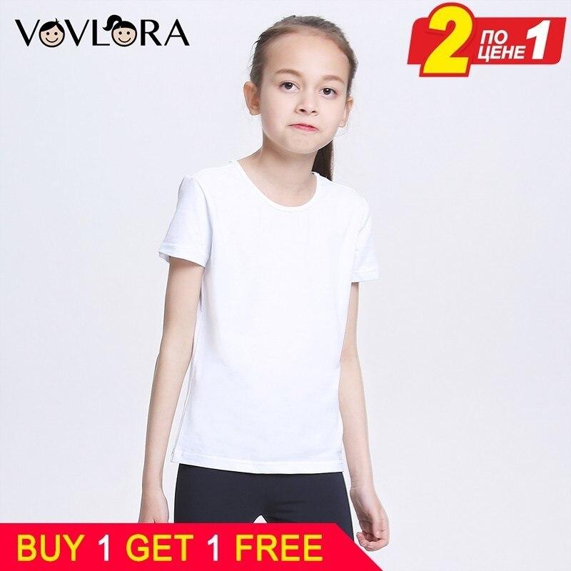 Buy 1 Gift 1 Free White Girls T-shirts Cotton Sport Kids T Shirt Tops Children Tshirt Summer 2018 Size 7 8 9 10 11 12 13 Years