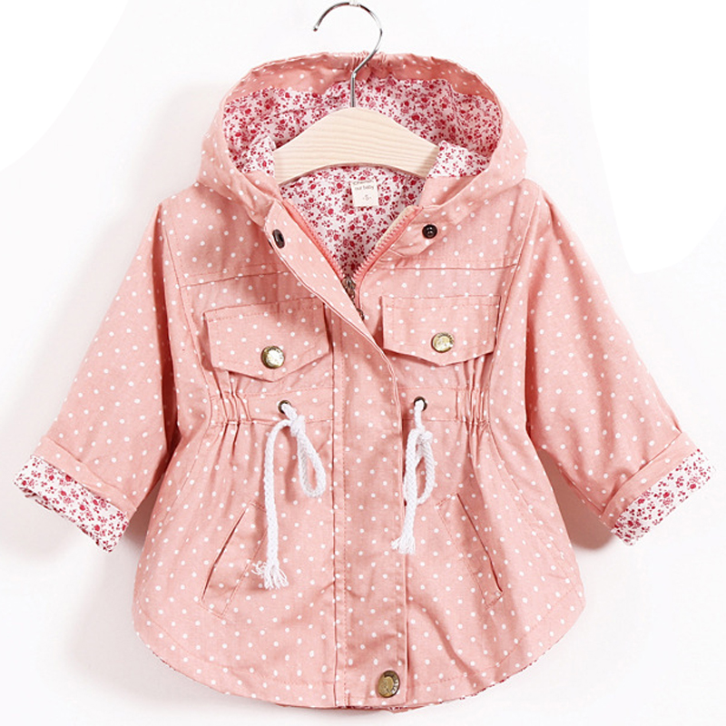Baby Girls jacket 100%cotton Dot long sleeve hooded batwing coat dust coat jacket children's wear autumn style Baby wear 1-5yrs oversized batwing sleeve printed blouse