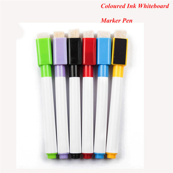 6pcs/Lot Coloured Ink Whiteboard Marker Pen Set With Eraser Marker Pen Children Kids Stationery Gift Erasable Marker Pen