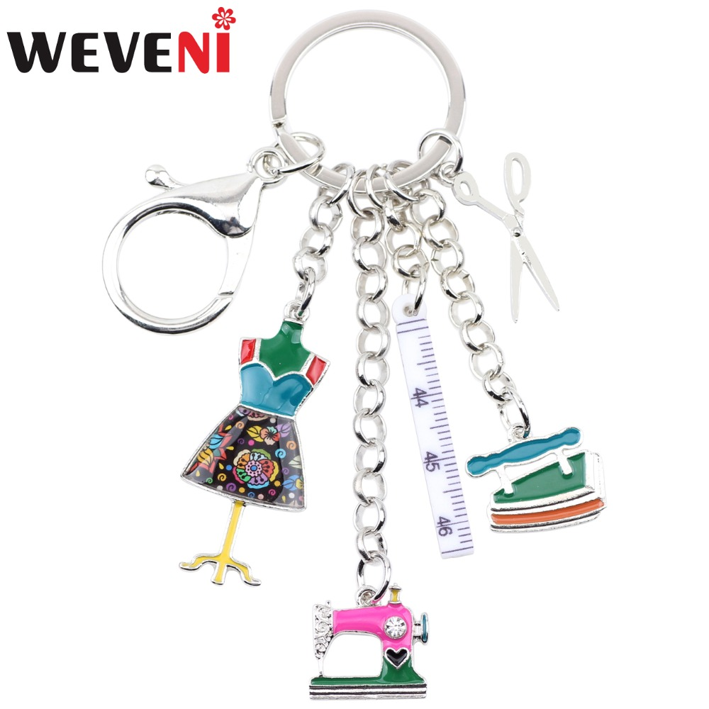 WEVENI Alloy Sewing Machine Tools Scissor Flatiron Key Chains Ring Gift For Women Girl Bag Charm Keychain Charm Keyring Jewelry