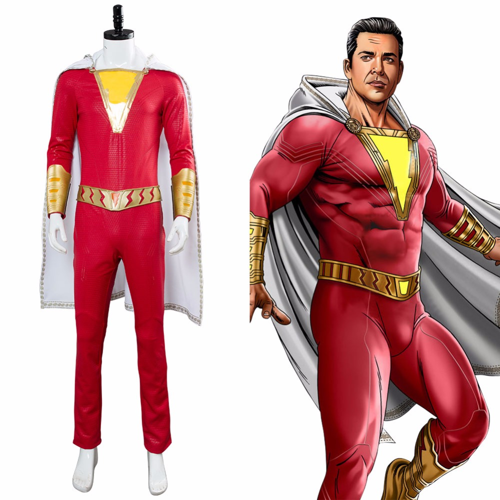 2019 DC Superhero Shazam Cosplay Costume Billy Batson Jumpsuit Halloween Carnival Costume for Adult Men Custom Made