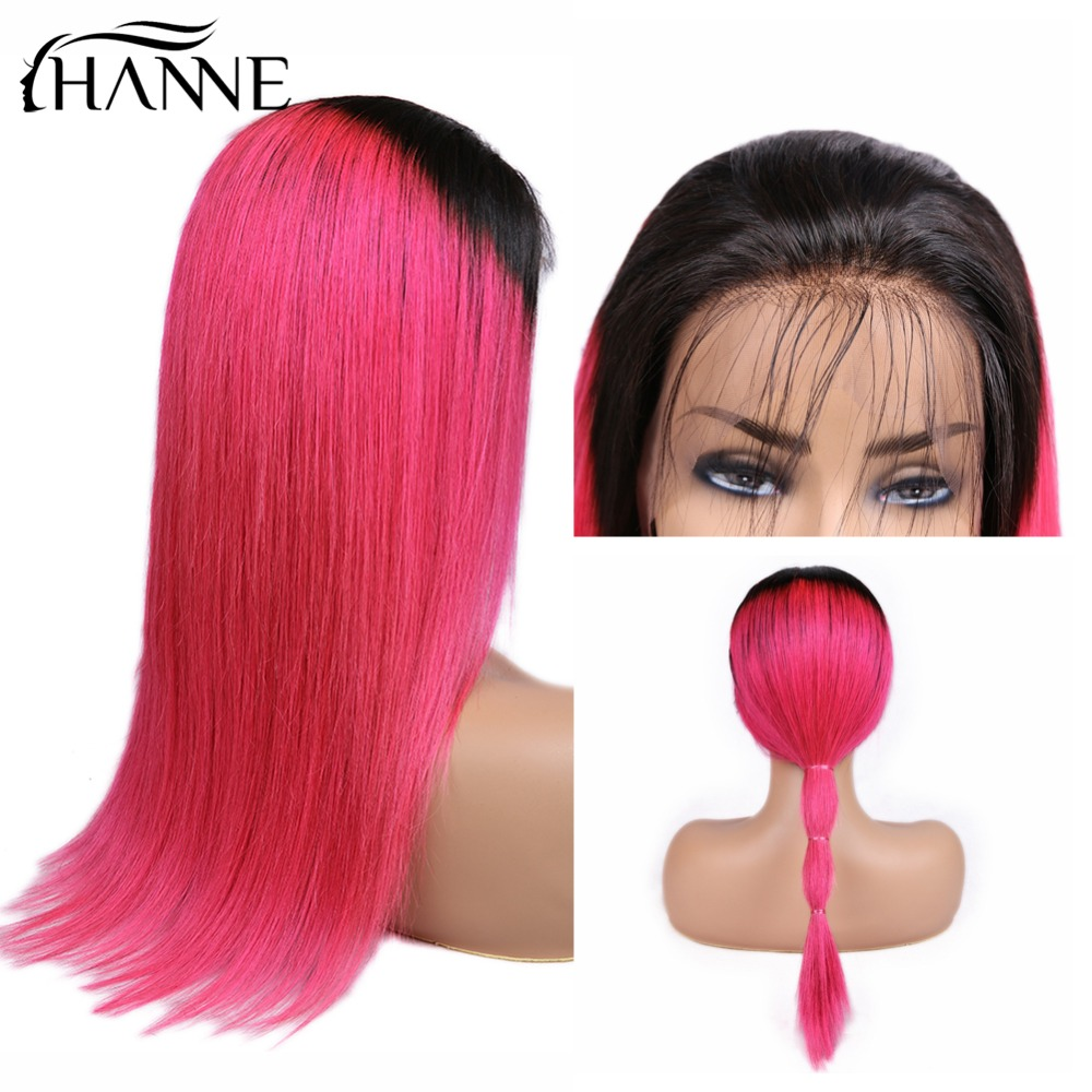 HANNE 13x4 Human Hair Wigs Pre Plucked With Baby Hair Frontal Straight Brazilian Remy Hair Wigs Ombre 1B Pink With 150% Density