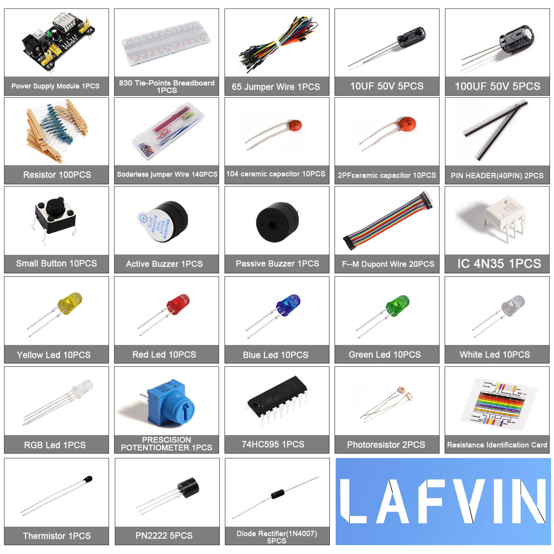 LAFVIN الإلكترونية متعة كيت حزمة مع امدادات الطاقة وحدة ، اللوح ، المقاوم ، مكثف ، الصمام ل اردوينو UNO
