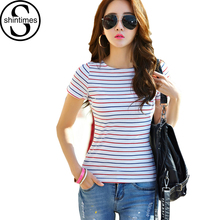 T-Shirt Women Striped 2017 Summer Tops Tshirt Striped T Shirt Cotton Slim Casual Sexy Tee Shirt Femme Plus Size Camisetas Mujer все цены