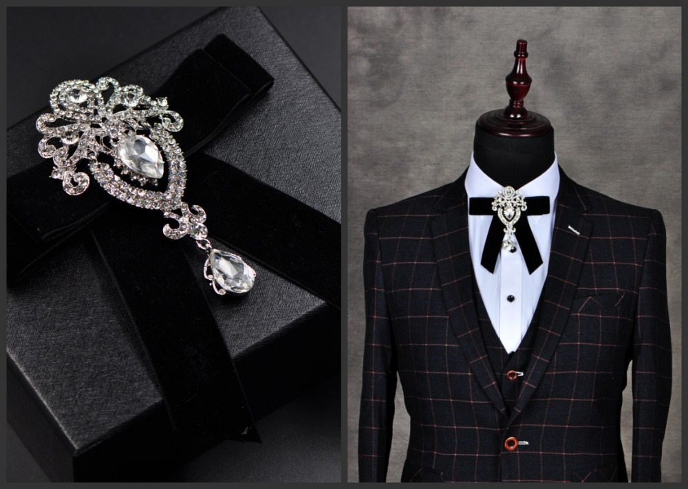 Free shipping NEW fashion Men and women retro diamond alloy diamond velvet bow tie groom wedding emcee photo long pin brooch