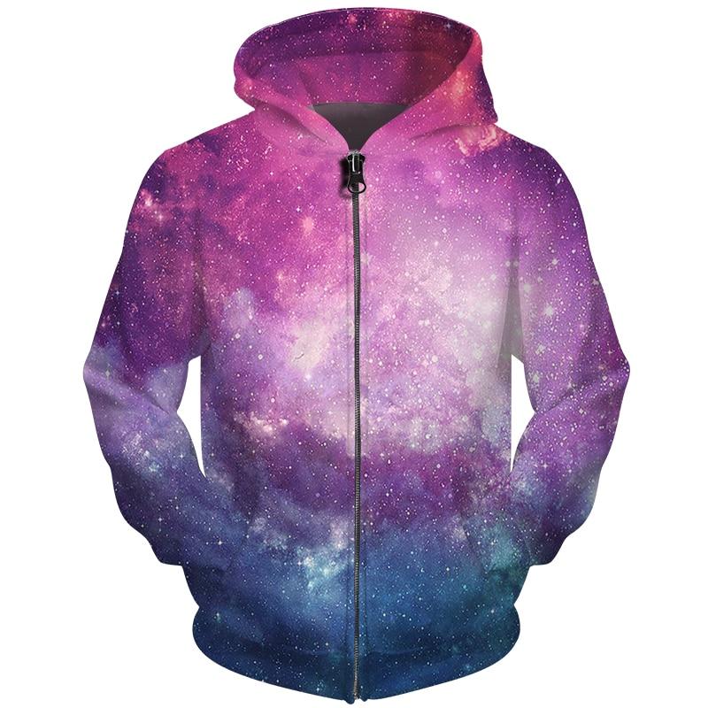 Cloudstyle Men Space Hoodies Zipper Design Sweatshirts 3D Nebula Galaxy Printed Tracksuits Harajuku Streetwear Unisex Jacket 5XL|Hoodies & Sweatshirts| |  - title=