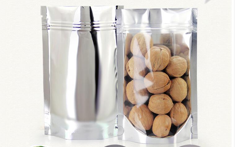 10*15 см, 100 X подставка полупрозрачный алюминия Ziplock мешок-mettallic алюминиевой фольги пластиковый мешок с перед ясно молния уплотнение