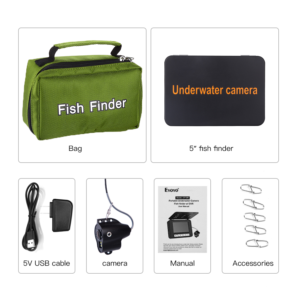 """Image 5 - Eyoyo Waterproof DVR Fish Finder 5"""" Monitor Video Camera 1000TVL Underwater Ice Fishing 4pcs Infrared+2pcs White Leds Fishfinder-in Fish Finders from Sports & Entertainment"""