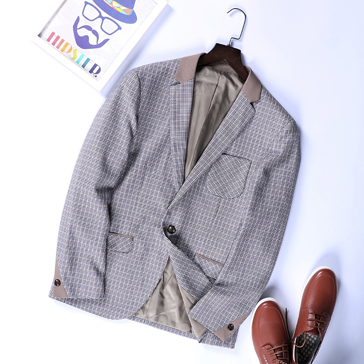 Men's Wear 2019 Spring New Fashion Leisure Small Suit Youth Trim Grid Single West Jacket Men Blazer MC107