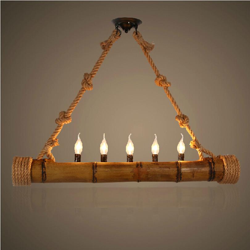 Hanfseil Bambus Pendelleuchten Lampe Loft American Vintage Hngen Lichter Leuchte Wohnzimmer Mit Led Lampen