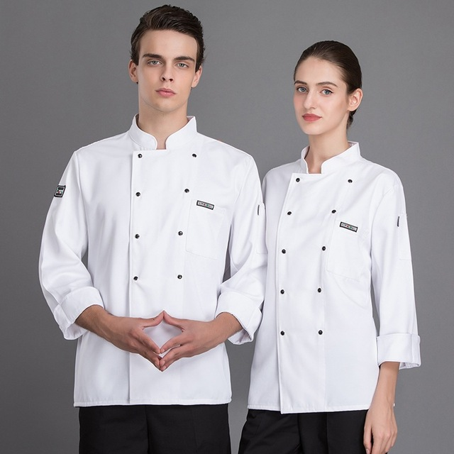 Chef overalls long-sleeved models breathable men's restaurant kitchen clothes canteen staff white female kitchen clothes