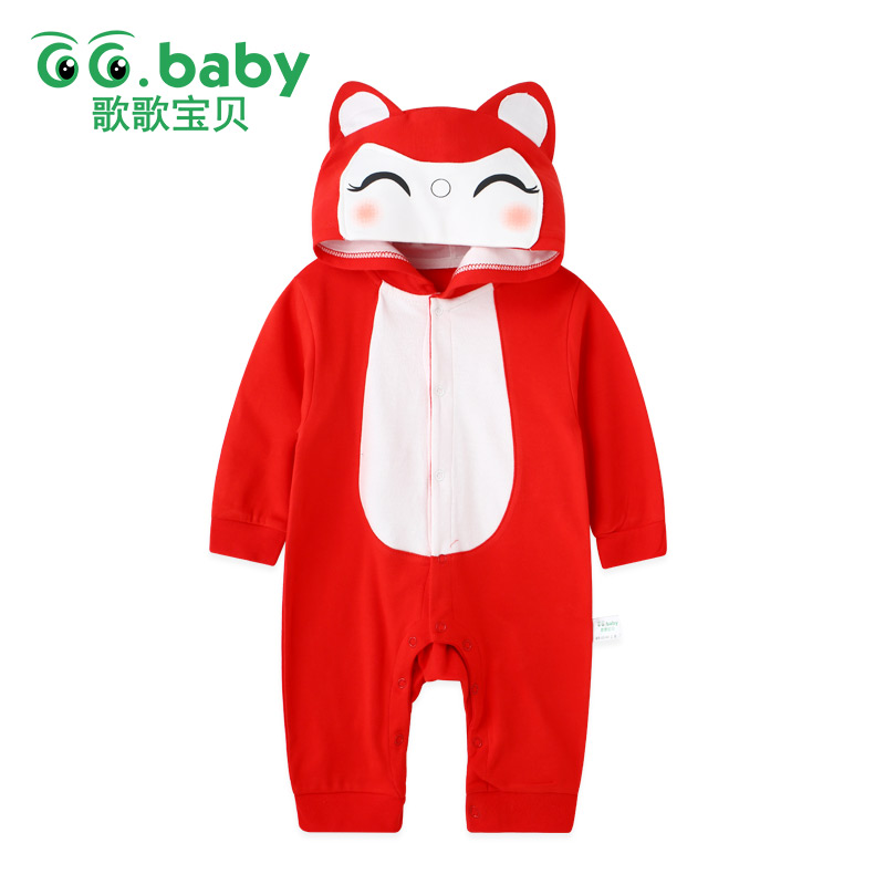 Hooded Winter Animal Costume Newborn Romper Long Sleeve For Baby Boy Clothing Jumpsuit Baby Girl Rompers Clothes Toddler Overall winter baby rompers organic cotton baby hooded snowsuit jumpsuit long sleeve thick warm baby girls boy romper newborn clothing