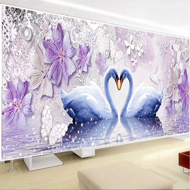DIY Diamond 5D Eternal Love Diamond Painting Swan Round Diamond Mosaic Home Decor Diamonds Embroidery Wedding