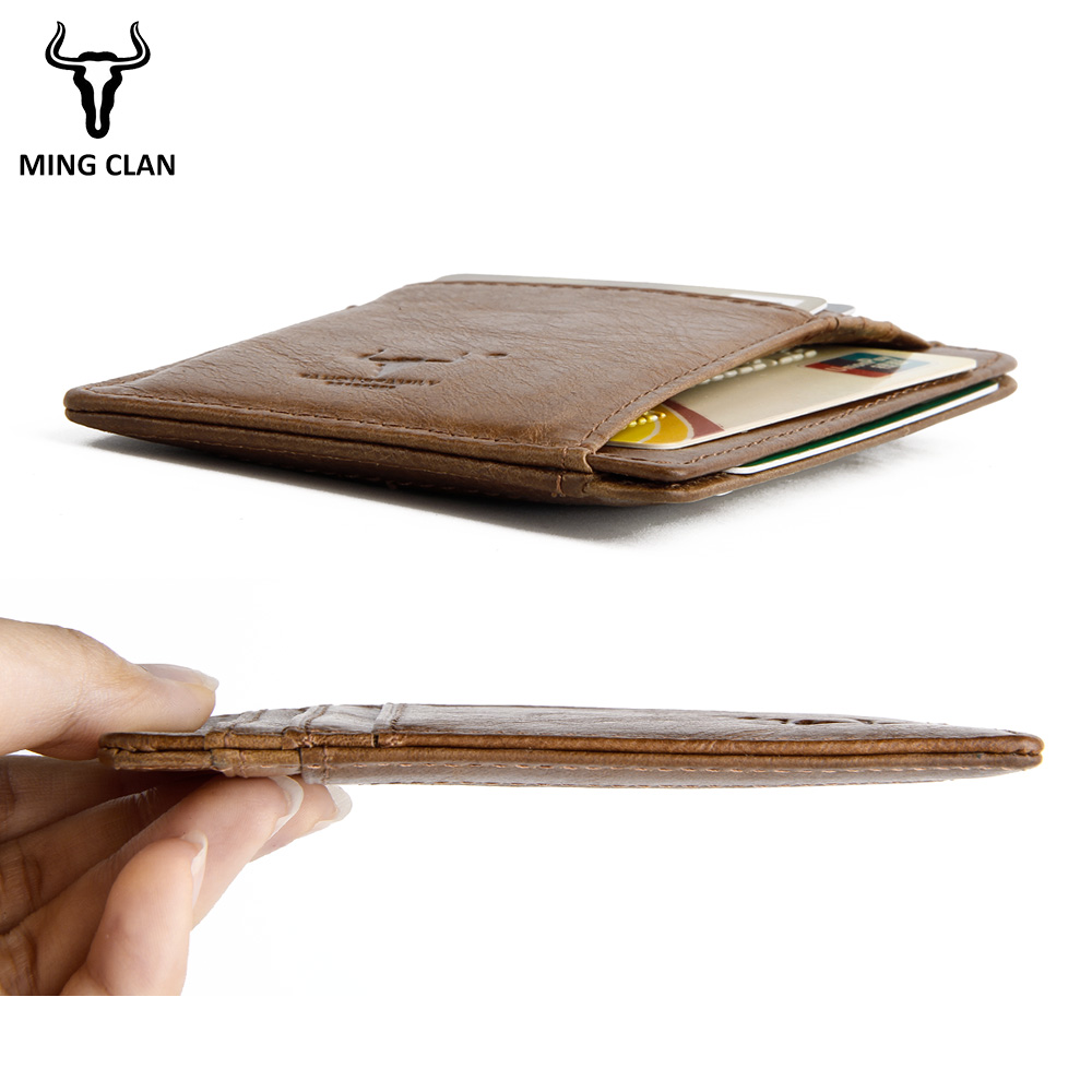 MingClan äkta läder unisex visitkort hållare plånbok bank - Plånböcker - Foto 5
