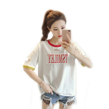 Casual beach print TSMILEY Hole T shirts for women Fashion Summer Short sleeves Tops Tees O-Neck plus size female T-shirt