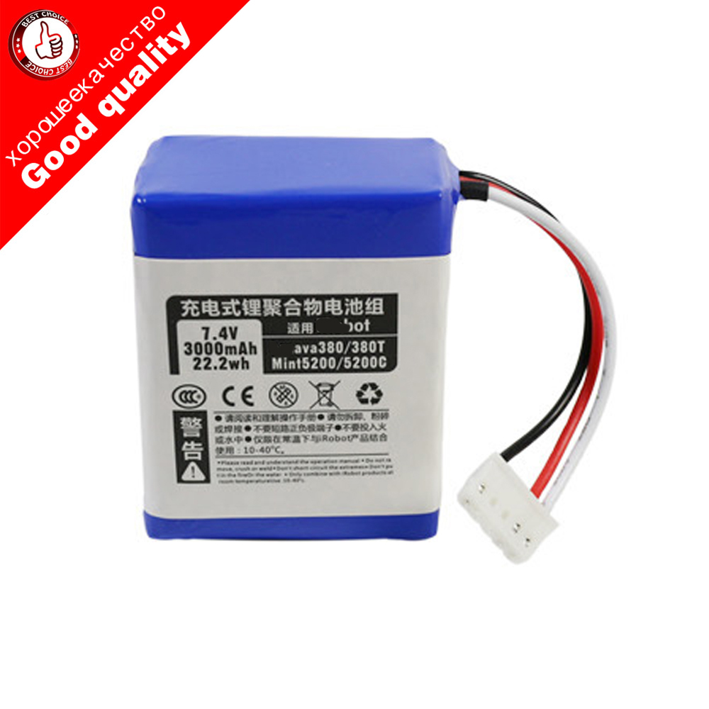 7.2V 3000mAh Li-ion Battery For IRobot Braava 380 380T Mint 5200  5200C Rechargeable Battery Vacuum Cleaner Accessories