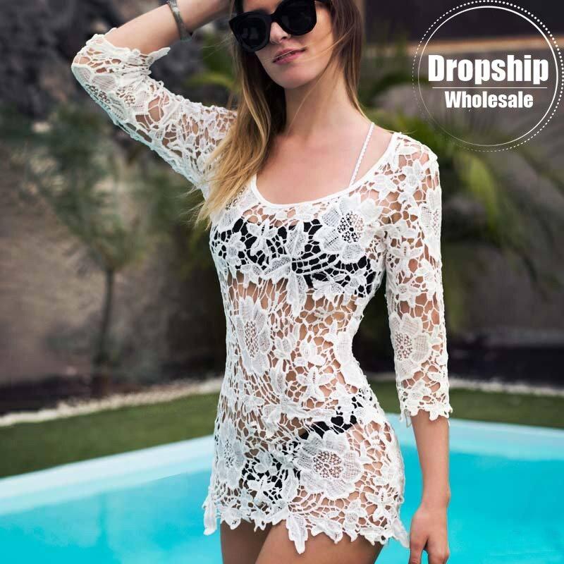 2019 Beach Cover Up White Floral Sexy Beach Tunic Women