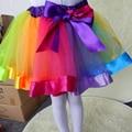Venda Quente do bebê meninas saias tutu 1-9Y rainbow color dança festa princesa saias pettiskirt macio meninas roupas de Natal venda