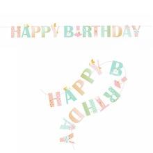 Rainbow Princess Happy Birthday Banner Striped Polka Dots Chevron Printed Baby Girl Party 1st