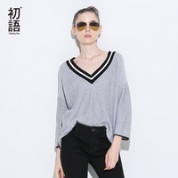 Toyouth Knitted Sweater 2017 Spring New Women Elegant V Neck Three Quarter Sleeve Pullovers Sweaters
