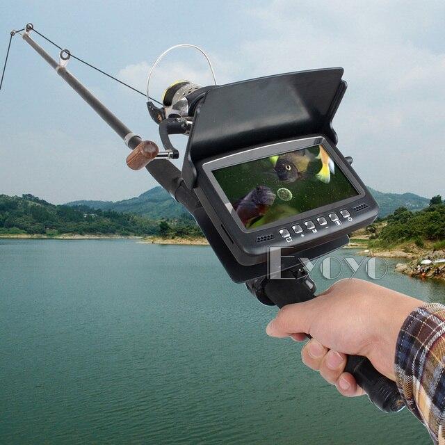 "Updated Eyoyo Original 15M Underwater 1000TVL Ice Fishing Camera Fish Finder 4.3"" Monitor 8 infrared LED Easy on Fishing Rod"
