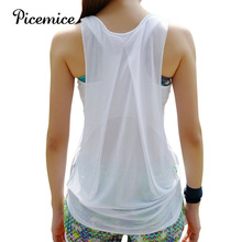 Picemice Womens Sports Vest Hollow-out Sexy Fitness Yoga Shirt Fitting Elastic Sleeveless Quick-drying Clothing Top