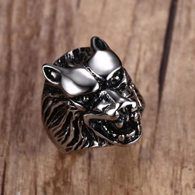 Vintage Mens Rings Stainless Steel Wolf Head Ring Men Biker Jewelry