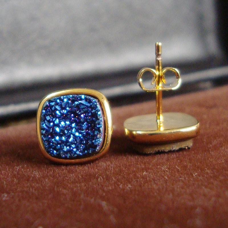 Brazil Hot Design Female Druzy Bijoux Gold Plated Round Blue Quart Natural Agate Druzy Earrings Fashion Stud Earrings for Women-1
