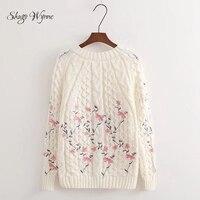 Shugo Wynne 2017 Autumn Winter New Women Fashion Pullover Sweet O Neck Long Sleeve Flowers Knitted