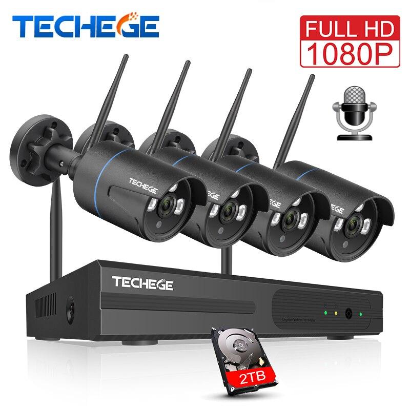 Techege Sans Fil CCTV Système 1080 p Enregistrement Audio 2MP 4CH NVR Étanche Extérieure WIFI CCTV Caméra Système Vidéo Surveillance Kit