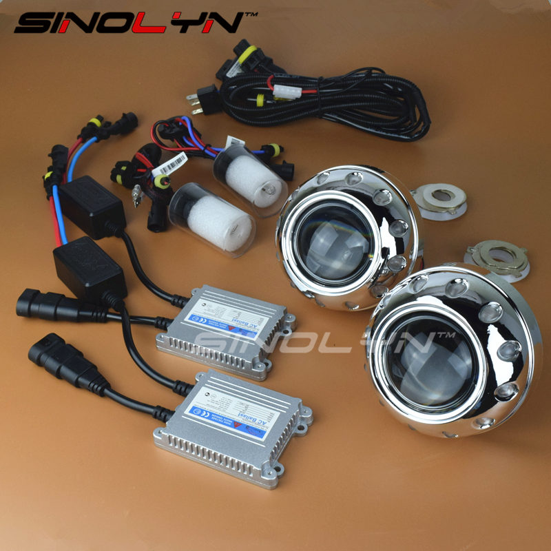 Sinolyn Upgrade 8.0 Mini 2.5 inch HID Bi-xenon Projector Lens Retrofit Headlight Kit W/WO Devil Eyes Lamp 4300K 6000K 8000K sinolyn upgrade 8 0 car led cob angel eyes halo bi xenon headlight lens projector drl devil demon eyes h1 h4 h7 kit retrofit diy