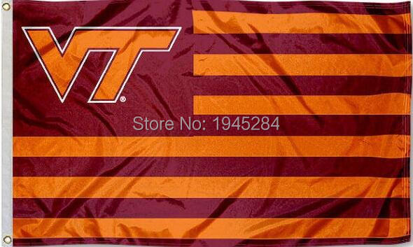 Virginia Tech Hokies Striped Flag 3x5ft 150x90cm New Polyester Flag Banner,  Free Shipping