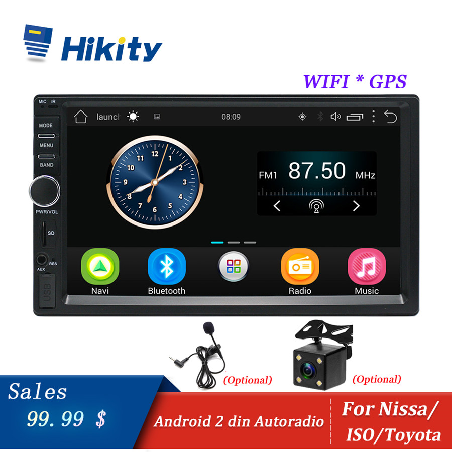Hikity Autoradio Android stéréo GPS Navigation Bluetooth USB SD Wifi tactile 2din 7