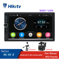 Hikity Android Car Radio Stereo GPS Navigation Bluetooth USB SD Wifi Touch 2din 7 Car Multimedia Player Audio Player Autoradio