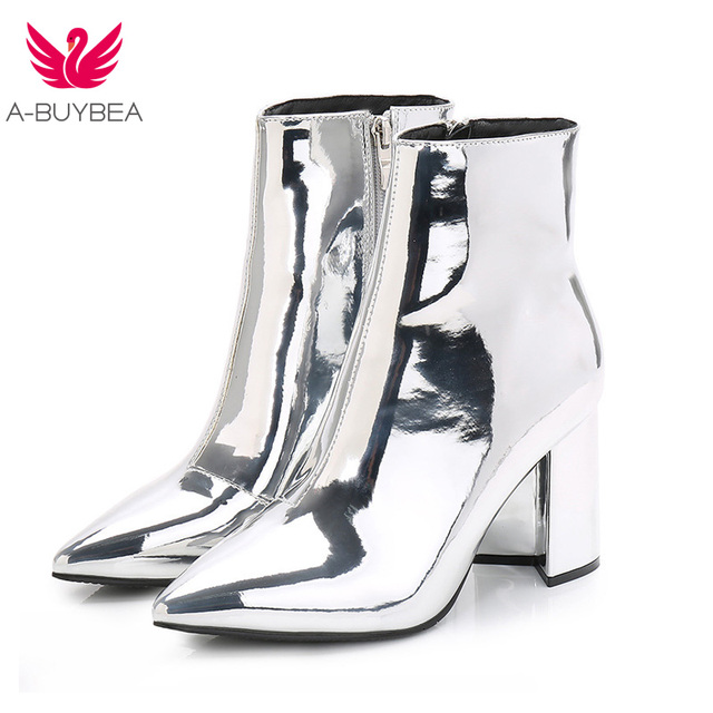 c7914656808 A-BUYBEA Fashion Mirror leather Party Pumps Sexy Pointed Toe ankle Boots  Women Silver chunky High Heels boots INS hot High Heels
