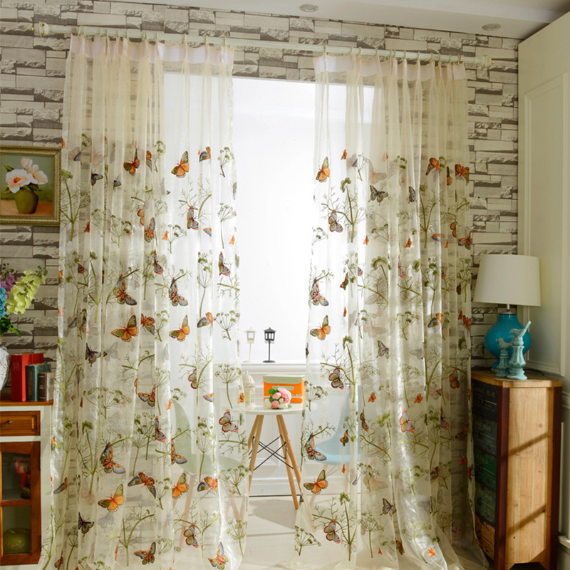 Embroidered Floral Tulle Curtain for Window Sheer Curtains for Living Room the Bedroom Pastoral Tulle Curtains Fabric Drapes