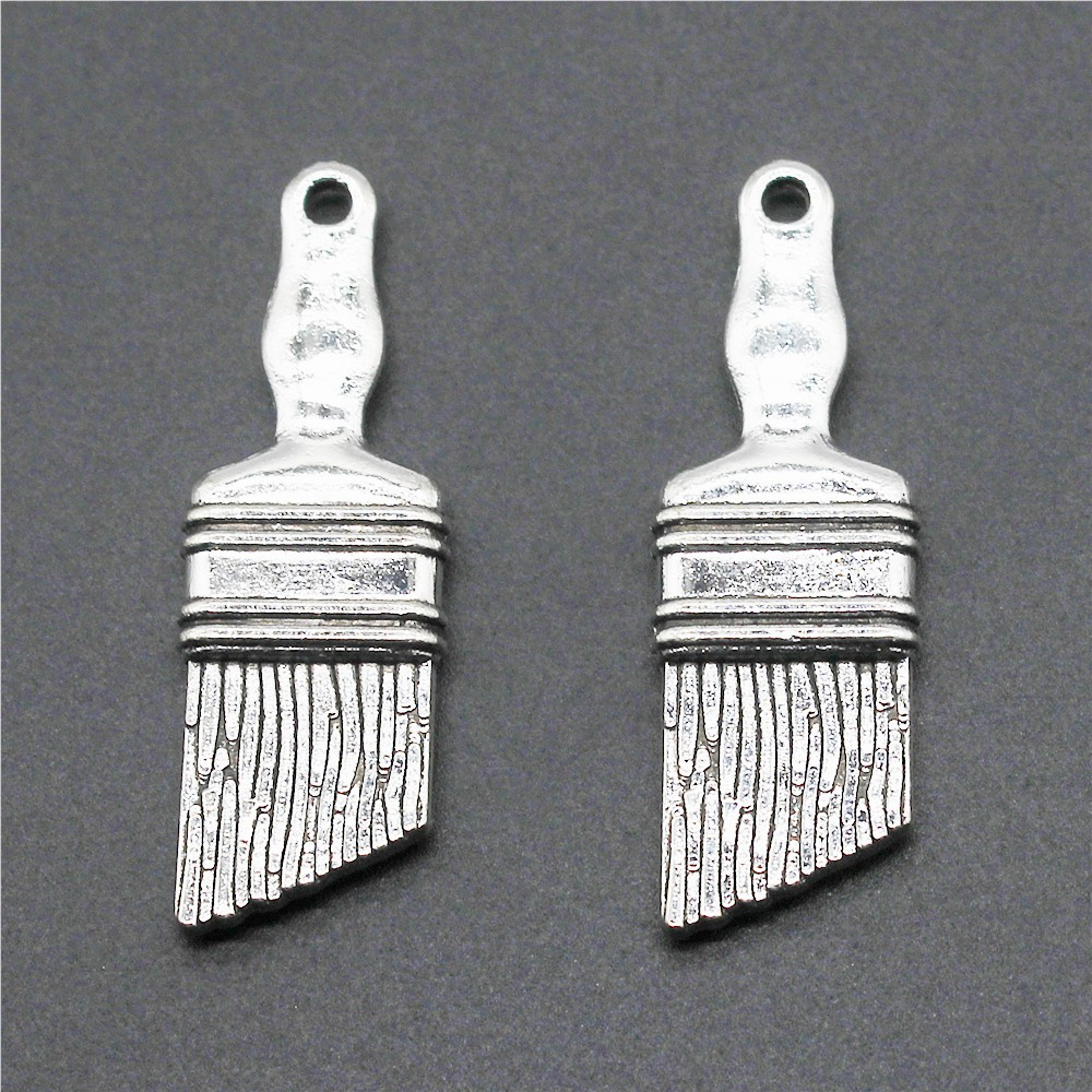 25pcs Tibetan Silver Brush and paint box Pendants Charms For Jewelry Making