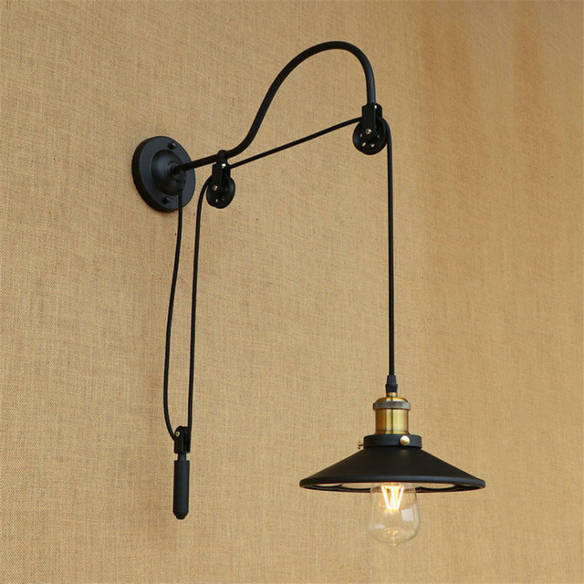 Loft Style Edison Wall Sconce Iron Lifting Pulley Wall Light Industrial Vintage Wall Lamp Fixtures Indoor Lighting Lampara