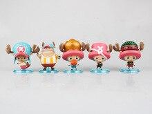 Anime Figure 7 CM 5PCS/SETP One Piece Q Version Tony Tony Chopper PVC Action Figure Collectible Model Toy Christmas Gift