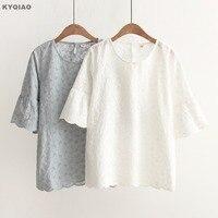 KYQIAO Lace Embroidery Shirt 2017 Mori Girls Summer Japanese Style Fresh Elegant Half Flare Sleeve White