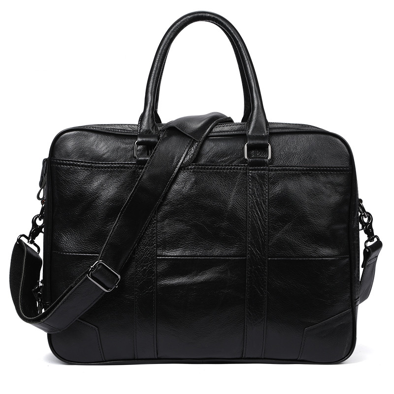 New Promotion Simple Brand Design Business Men Briefcase Bag Genuine Cow Leather Laptop Bag Men Shoulder Bag Bolsa Maleta
